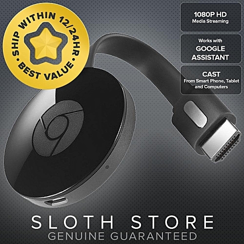 Google Chromecast 2 HDMI Media Streaming GENUINE (Black) WOHOT