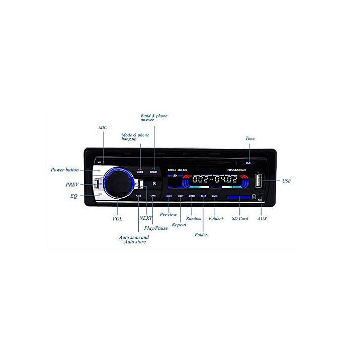 1-Din In-Dash Car Radio Bluetooth Stereo Head Unit MP3/USB/SD/ AUX-IN/ FM  Player