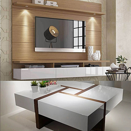 Smart Control LED Wall TV Stand With Wireless Charging Coffee Table(2 Piece Set)
