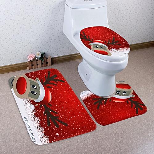 Christmas Deer Pattern 3 Pcs Toilet Mat Bath Mat - Red