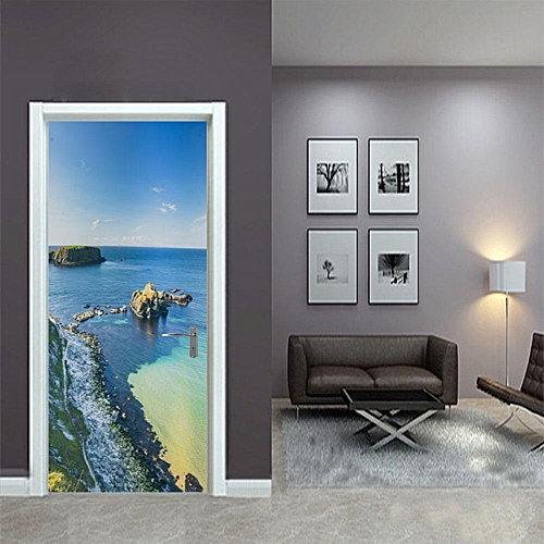 2PCS Beach Landscape- Style 3D PVC Door Removable Door Sticker