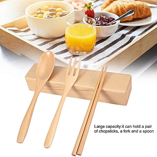 Portable Eco-friendly Wooden Reusable Chopsticks Fork Spoon Storage Case Box