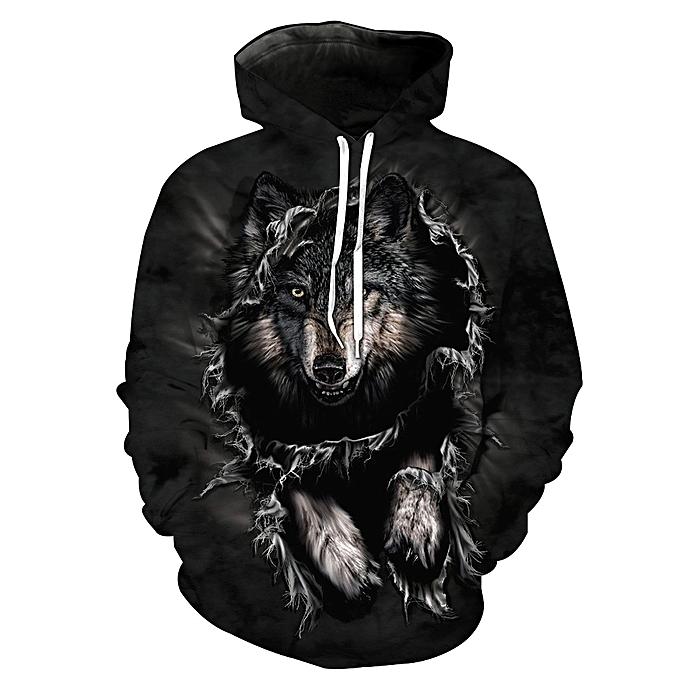 f0e3e06399db Fashion Unisex Long Sleeve 3D Hoodies Black Wolf Sweatshirts ...