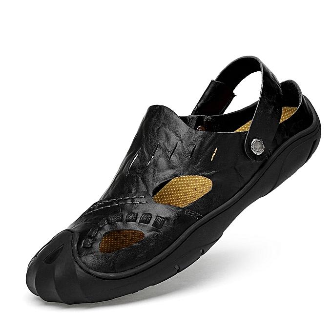 83e1c27078e2 EUR Size 38-46 Men Sandals Luxury Full Grain Leather Summer Shoes Fashion  Male Hiking