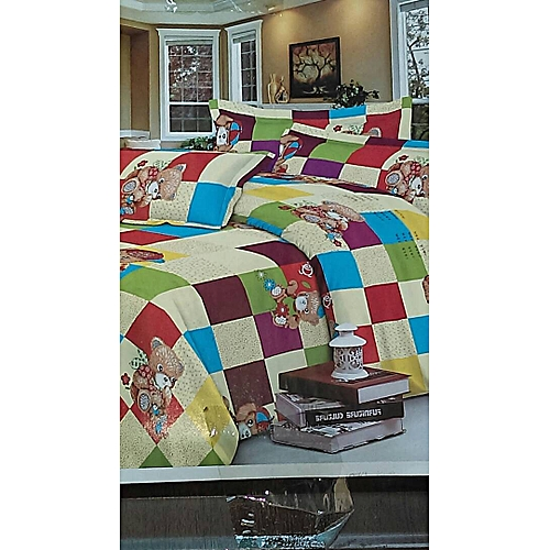 Teddy Bear Patterned Bedsheet With 2pillow Cases