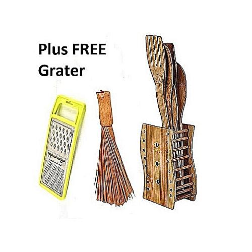 Wooden Spoons, Mesh (Ewedu) Broom & Free Grater-Cooking Set