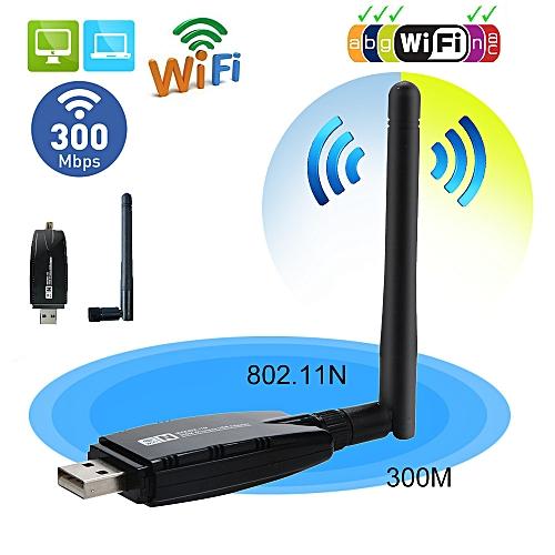 Fusojkh 300Mbps Wireless USB WiFi Adapter Dongle Network LAN Card 802.11b/g/n W/ Antenna