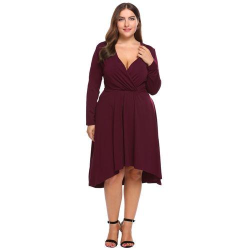 Nigeria Buy Fashion Women Plus Size Wrap Front Deep V Neck Long
