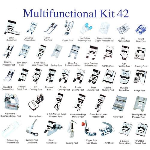 42PCS Domestic Sewing Machine Foot Presser Feet Set For Brother Singer Janome Sliver