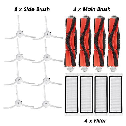 For Xiaomi Roborock Robot Vacuum Cleaner For Xiaomi Mi Robot Accessories Part 8pcs Side Brush 4pcs Roller Brush 4pcs HEPA Filter