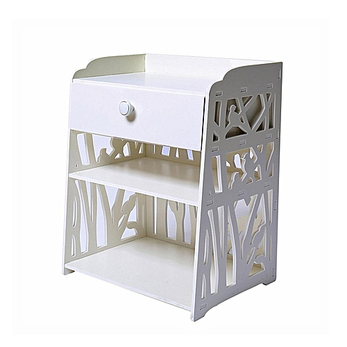 White Bedside Table Cabinet Cupboard Nightstand Storage Organizer Shelving Rack