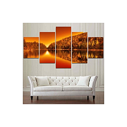 Blazing Serinity Of Lac Spruce Canvas Print Home Decoration Wall Art Picture Panel