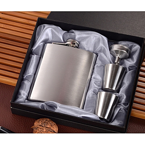 Stainless - Steel Hip Hop Flask Whiskey Alcohol Liquor Bottle Alcohol Drinkware With 2 Little Cups
