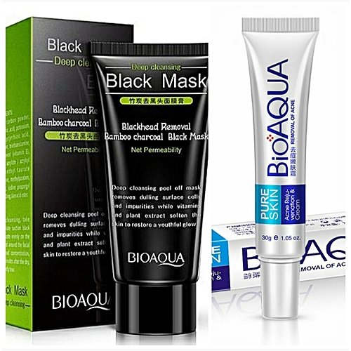 BioAQUA Facial Cleansing Acne Purifying Peel Off Black Mask For Younger Smooth Face + Anti Acne Cream