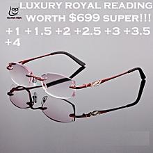 86ff584bf177 2018 DESIGNER ROYAL LUXURY RIMLESS WOMEN READING GLASSES GRADIENT+1.25  (40nvCUT-red)