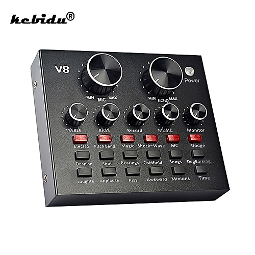 V8 Sound Card Audio USB Headset Microphone Webcast Personal Entertainment Sound Card For Streamer Live Phone Computer PC