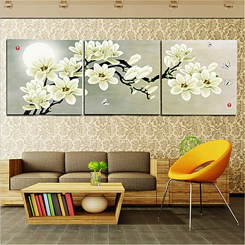 3 Panel Modern Abstract Flower Painting On Canvas Wall Art Cuadros Flowers Picture Home Decor For Living Room No Frame PR191-White