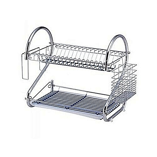 Generic Plate Rack /Dish Drainer 2 Layers- Silver