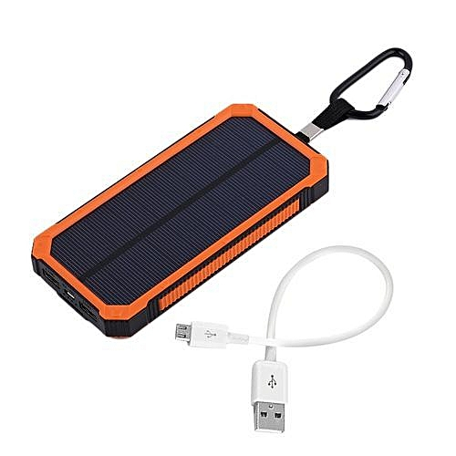 Home-20000MAH Waterproof Solar External Power Bank For Mobile Phones With Cable - Orange/Multi