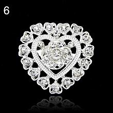 Flower Heart Rhinestone Silver Plated Brooch Pin Wedding Bridal Broach Breastpin 6