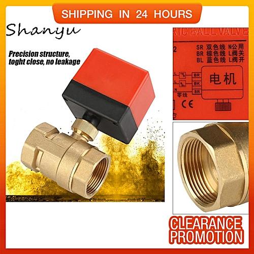 "Shanyu DC 12V 2 Way 3 Wire Brass Motorized Ball Valve Electrical Valve DN32 G1-1/4"""