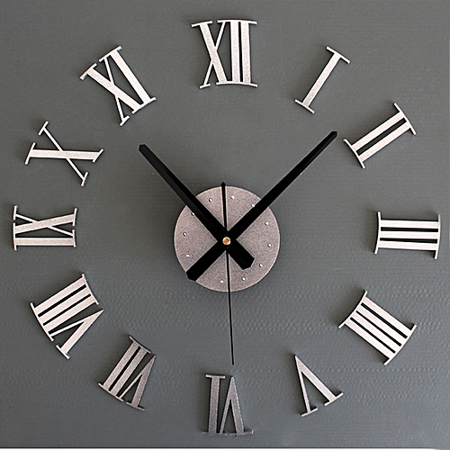 DIY Luxury 3D Wall Clock Large Size Home Decoration Art Clock Silver