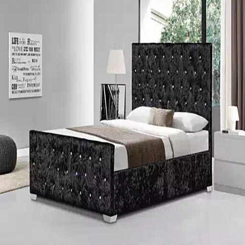 Black Upholstered Bed Frame (Delivery Within Lagos Only)