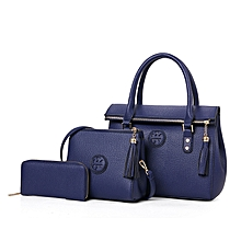 d0adb13fbfb Women  039 s 3Pcs Solid Tassels Leather Handbag - Blue