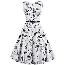 2ec373c527 Printed Big Hem Dress With Belt - White