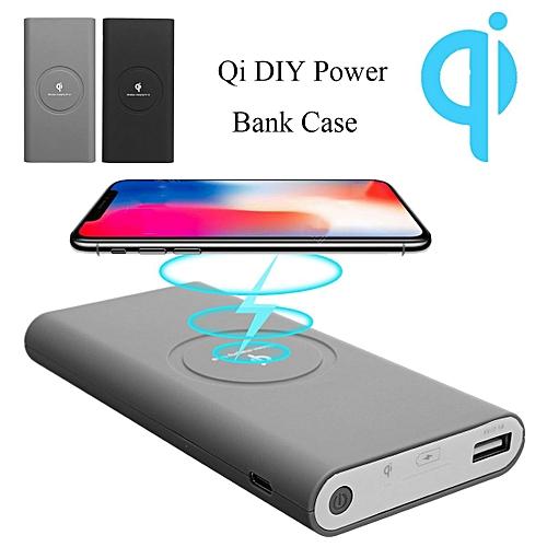 10000mAh QI Wireless Power Bank DIY Case Charging USB Type-C Built In Coil Gray
