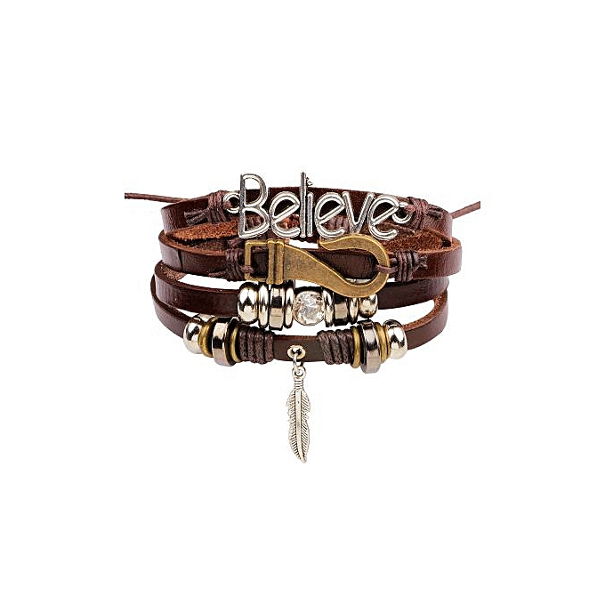 4 In 1 Braided Anchor Leather Hand Bracelet