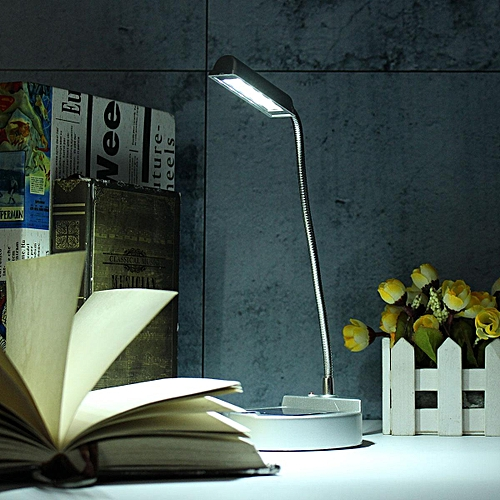 Morden 4 LED Table Desk Bedside Reading Study Home Office Lamp Light Solar Power White