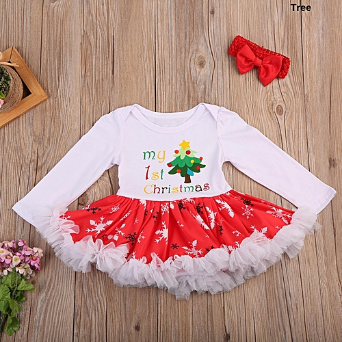 46c398749 Fashion 2Pcs Set Baby Girl My First Christmas Romper Bodysuit Tutu Dress  Outfit Clothes Tree - Red