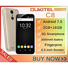 C8 - FS 5.5-Inch (2GB,16GB ROM) Android 7.0 Nougat, 13MP + 5MP Fingerprint 3000mAh  EU 3G Smartphone - Gold + Case