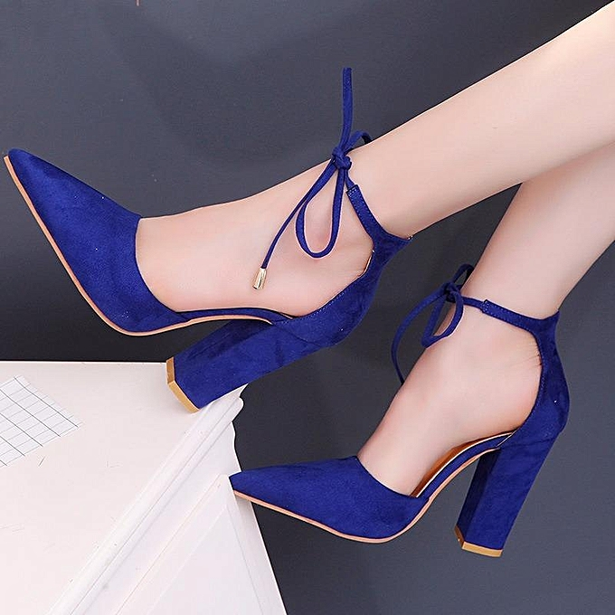 cf30079d92a ... Sexy Ladies High Heels Sandals Plus Size Pointed Thick With Suede Foot  Ring Sling Hollow ...