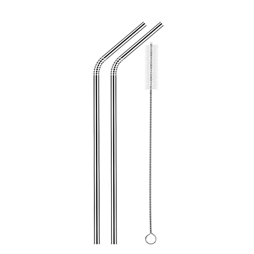 2pcs Stainless Steel Straws Reusable Eco-friendly Straight/Bent Drinking Metal Straws With Cleaning Brush 1#