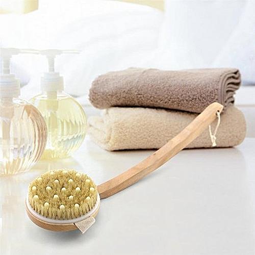 Honana BX Body Cleaning Brushes Circular Massage Bristle Detachable Bent Wooden Handle Bath Brush