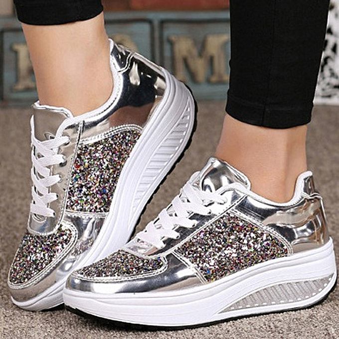 7d6b4b99257c Women's Ladies Wedges Sneakers Sequins Shake Shoes Girls Sport Shoes(UK  Size)