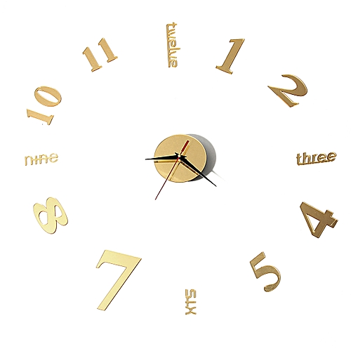 DIY 3D Wall Clock Large Number Modern Home Sticker Decoration Black Silver Gold
