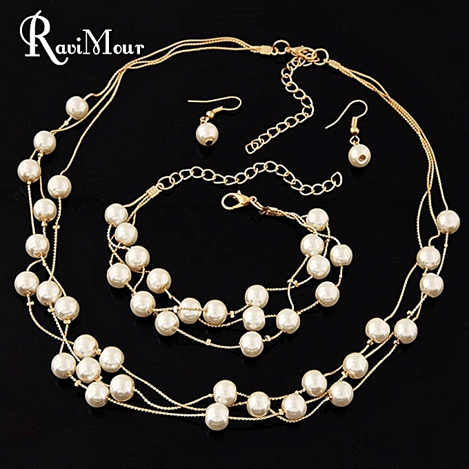 5367ec2a98 Imitation Pearl Jewelry Sets Gold Statement Necklace Earrings And Bracelet  Set For Women