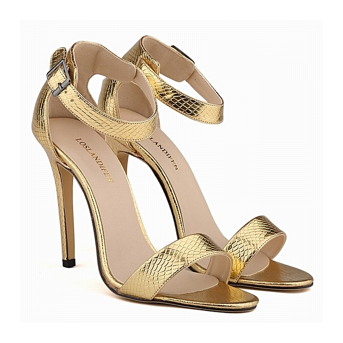 c093b66d668 Loslandifen Open Toe Stiletto Heels With Ankle Strap - Gold