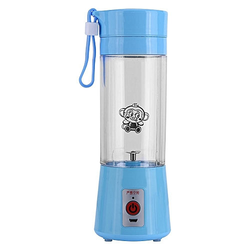 Minxin 400ML Portable Rechargeable USB Juicer Fruit Juice Extractor Handheld Blender Bottle Cup Blue