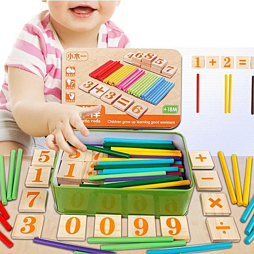 Henoesty Kids Child Wooden Numbers Mathematics Early Learning Counting Educational Toy
