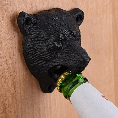 Cast Iron Bear Shape Wall Mounted Beer Glass Bottle Cap Opener Bar Tools