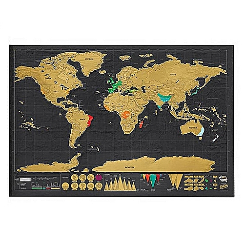 Deluxe Personalized Travel Scrape Off World Map Foil Layer Coating
