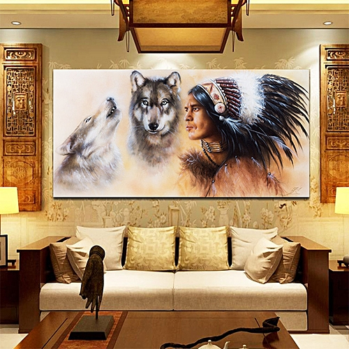 """31.5""""x15.7"""" Unframed Canvas Indian Man Wolf Wall Art Painting Picture Home Decor"""