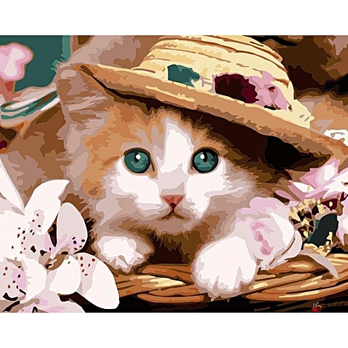 Pictures Lovely Cute Cats Series DIY Oil Painting By Numbers Kitten Digital Painting Calligraphy Photo Color