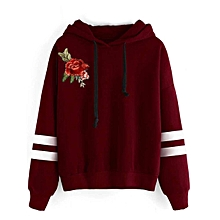 3f652ececee7f6 TB Women Long Sleeve Embroidery Hooded Pullovers Fashionable Ladies Hoodie  Tops Wine Red