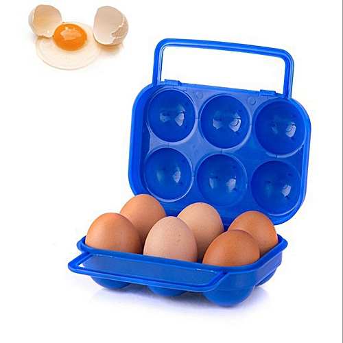 Watermalend Portable 6 Eggs Plastic Container Holder Folding Egg Storage Box Handle Case