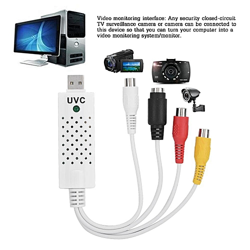 White USB2.0 Video Acquisition Card TV Tuner DVD Audio Capture Card Converer Adapter
